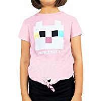 Vanilla Underground Minecraft Kitty Front Tie Girl's Pink T-Shirt Gamer Tee