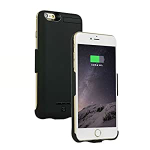 iPhone7/iPhone6/iPhone6s共用 4.7インチ 正規品 大容量5200mAh 超薄 モバイルバッテリー内蔵ケース 一体型バッテリーケース 安全 急速充電 スタンド機能付き (ブラック)