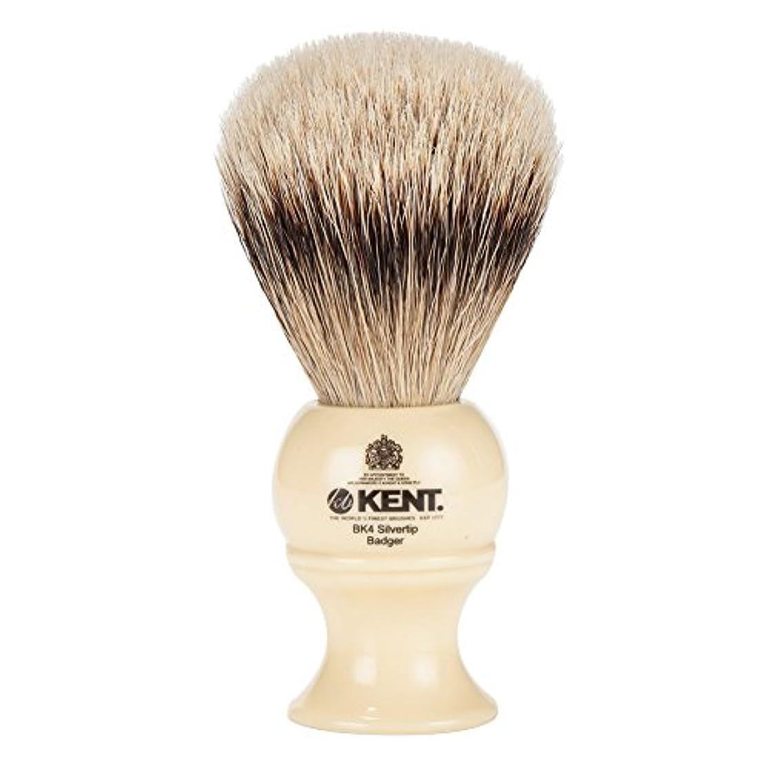 ドライ激しい復活させる[ ケント ブラシ ] Kent Brush シルバーチップアナグマ シェービングブラシ (Mサイズ) BK4 ホワイト 髭剃り [並行輸入品]