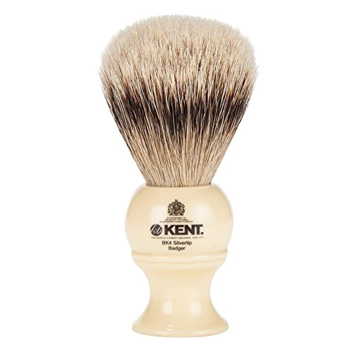 花瓶バックミス[ ケント ブラシ ] Kent Brush シルバーチップアナグマ シェービングブラシ (Mサイズ) BK4 ホワイト 髭剃り [並行輸入品]