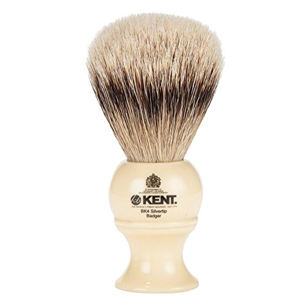 レギュラー余韻真夜中[ ケント ブラシ ] Kent Brush シルバーチップアナグマ シェービングブラシ (Mサイズ) BK4 ホワイト 髭剃り [並行輸入品]