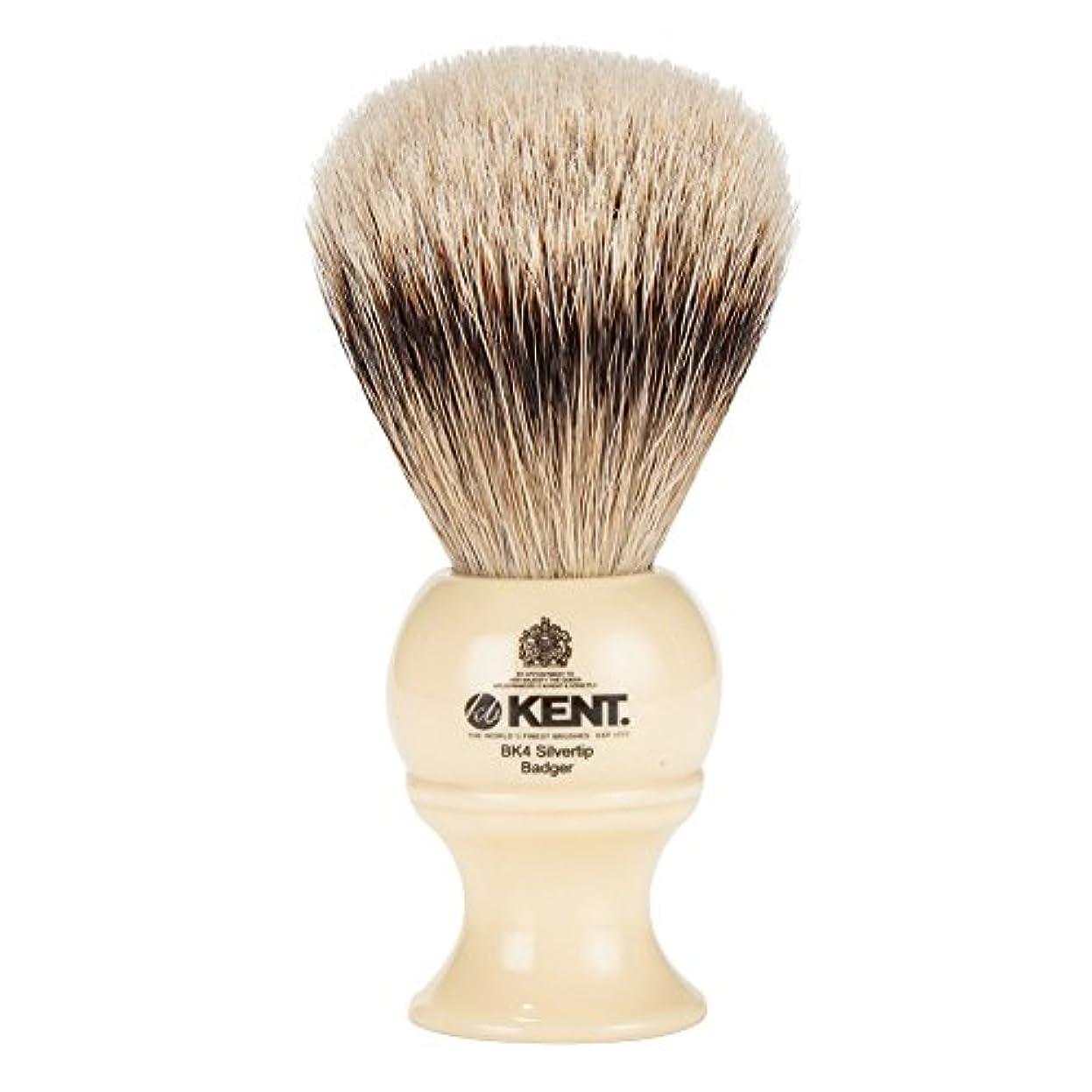 問い合わせるカップ拮抗する[ ケント ブラシ ] Kent Brush シルバーチップアナグマ シェービングブラシ (Mサイズ) BK4 ホワイト 髭剃り [並行輸入品]
