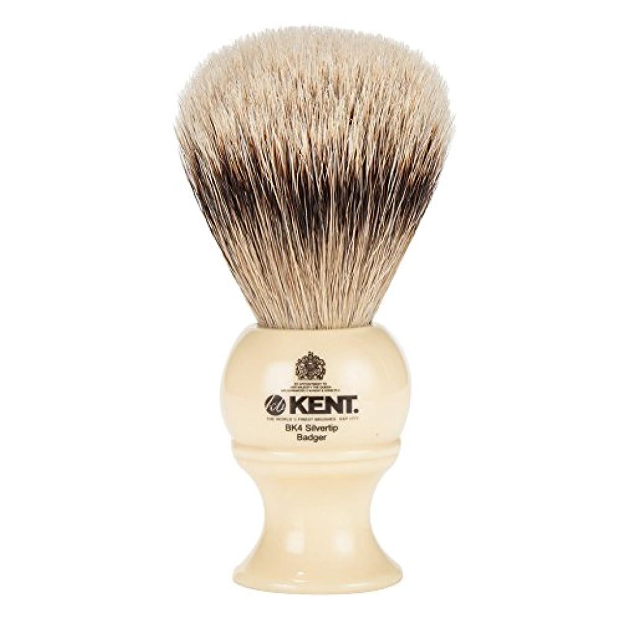 ファーザーファージュ墓地予約[ ケント ブラシ ] Kent Brush シルバーチップアナグマ シェービングブラシ (Mサイズ) BK4 ホワイト 髭剃り [並行輸入品]
