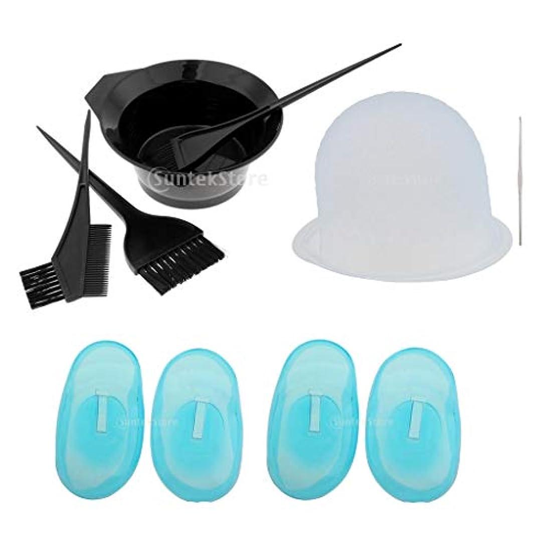 雹進捗品ヘアカラーセット 毛染め 家染め ヘアカラーカップ/コーム/イヤーカバー/耳キャップ 繰り返し使える