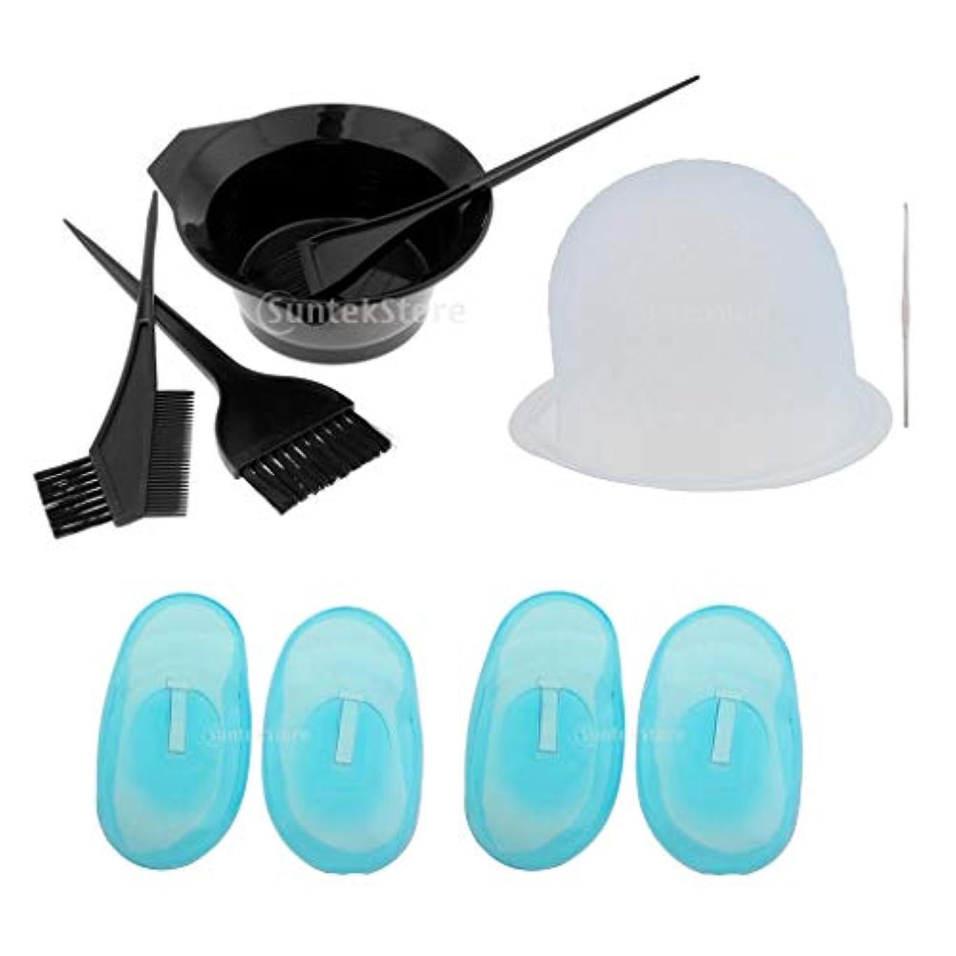 空虚サイレント付添人ヘアカラーセット 毛染め 家染め ヘアカラーカップ/コーム/イヤーカバー/耳キャップ 繰り返し使える