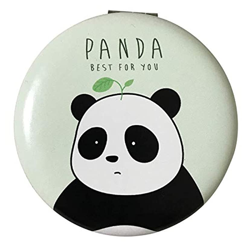 神経衰弱ドア膨らみコンパクトミラー 携帯ミラー 手鏡 折りたたみ 割れない パンダ 拡大鏡付き グリーン