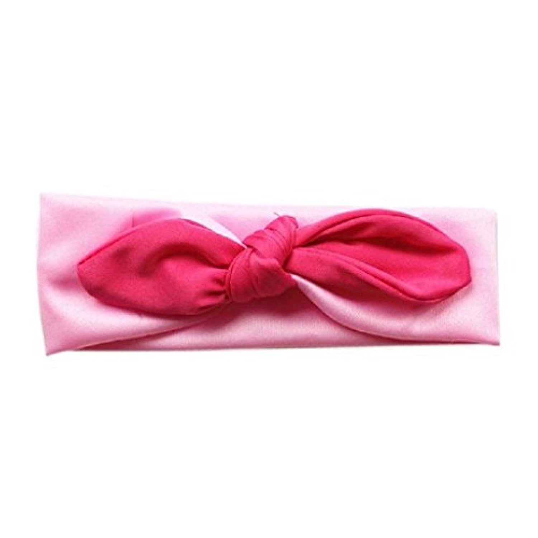 Tonsee ベビー ヘッドバンド ガールズ かわいい うさぎの耳 ストレッチ ヘアバンド 髪飾り (ピンク)