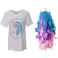 SONONIA 少女 ユニコーンホーン付き ロング カラーフル ウィッグ + ユニコーンデザイン ショート Tシャツ パーティー コスチューム セット