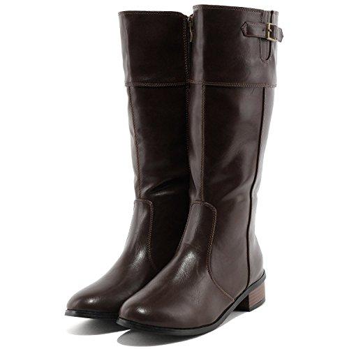 (フェリシア フェリーチェ)Felicia Felice サイドベルトのロングブーツ 25.0cm ブラウン茶色