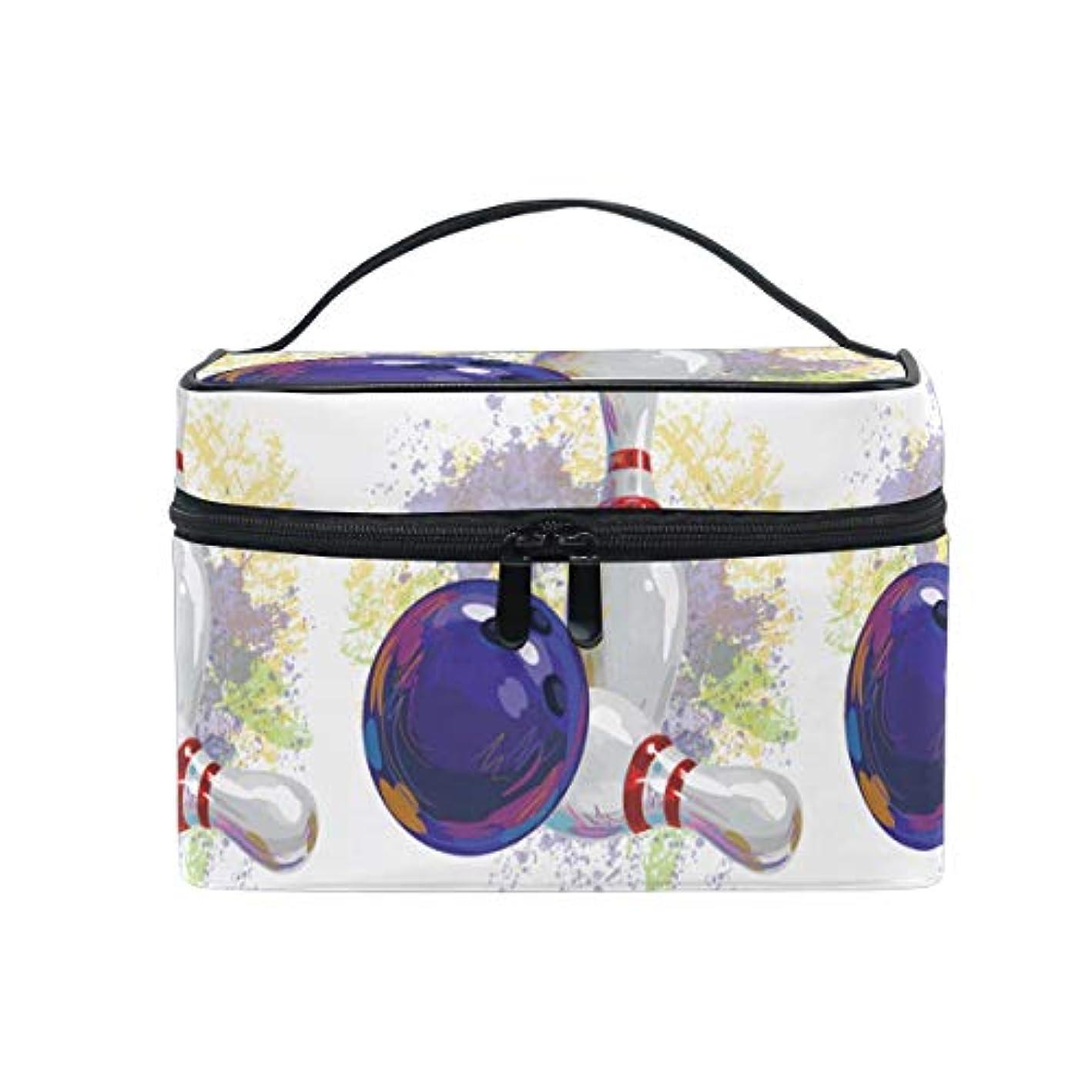 帰する解き明かすに沿って水彩アートボウリングボールメイクバッグ 旅行 メイクボックス バッグ トイレタリー トレイン ケース レディース 美容 化粧ポーチ ポーチ