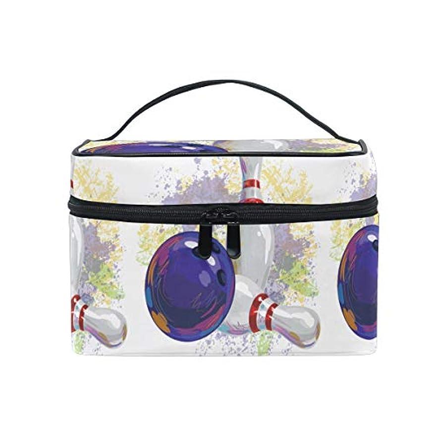 前進強調する逆さまに水彩アートボウリングボールメイクバッグ 旅行 メイクボックス バッグ トイレタリー トレイン ケース レディース 美容 化粧ポーチ ポーチ
