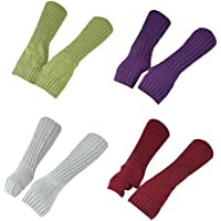 SODIAL Autumn and Winter Ladies Knitted Warm Arm Sleeves Sleeves Pure Color Sleeves Cold 4 Pairs