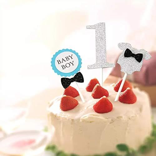 ファーストバースデー トッパーセット 3点セット ケーキ デコレーション 1才 1歳 一才 一歳 誕生日 記念撮影 赤ちゃん アルバム プレゼント (ブルー)