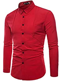 gawaga メンズロングスリーブボタンダウンフォーマルラペル平野スリムドレス作業シャツ