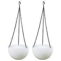 植木鉢の斜面、穴とチェーンフラワーバスケットとバスケットぶら下げバスケット吊りバスケット鉢をぶら下げプラスチックラウンドハンギングフラワーポット籐パターンの2枚(ホワイト),白