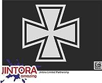 JINTORA ステッカー/カーステッカー - Iron Cross - アイアンクロス - 99x99 mm - JDM/Die cut - 車/ウィンドウ/ラップトップ/ウィンドウ - シルバー