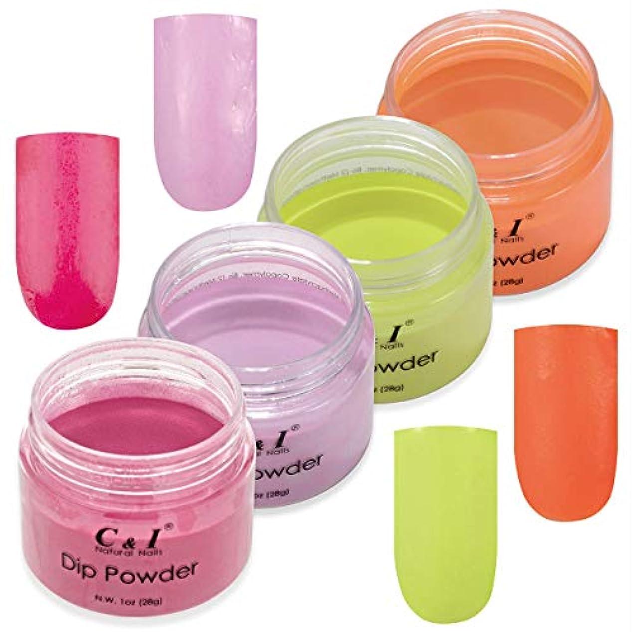 工夫する母性入植者C & I Dip Powder Nail Colors & Liquids Set, 4 colors and 4 liquids, Gel Nail Effect Colors, N.W. 28 g * 4 pcs & 15 ml * 4 pcs