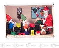 およそ 5.5 cmx4 cm の鉱石山のクリスマス図木図のミニチュアマッチ箱のエルフの研修会の幅 X の高さ