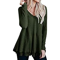 Lrady Women's Casual Tunic Tops V Neck Waffle Knit Lace Trim Flowy Blouse Shirts