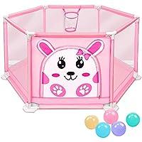 5ボールのピンクの赤ちゃんの遊び場アンチロールオーバーの幼児の部屋バスケットボールのフープと安全な通気性の子供の遊び場のプレーヤ (サイズ さいず : S s)