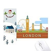 ロンドン橋の英国イギリスビッグベン、ロンドンアイのイラスト サンタクロース家屋ゴムのマウスパッド