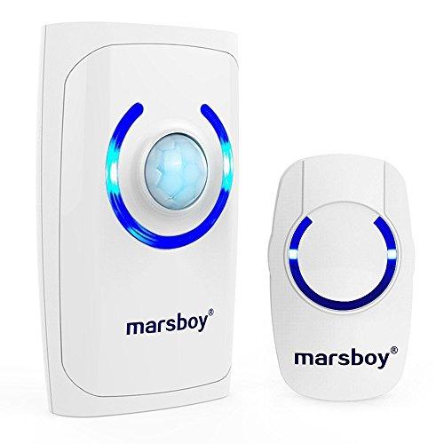 Marsboyワイヤレスチャイム ドアベル 呼び鈴 呼び出し玄関チャイムセット メロディー36種類 受信距離150m LEDライト 防犯機能 電池式 (受信機1個 送信機1個)