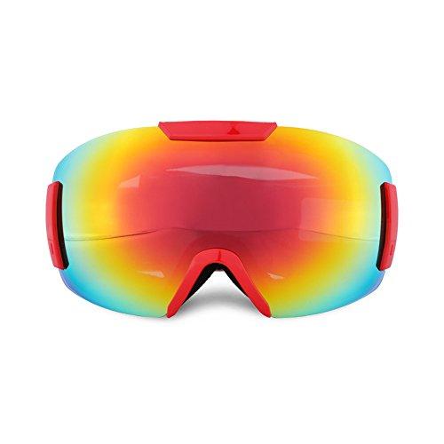 スキーゴーグル スノボゴーグル ダブル球面レンズ UV400紫外線カット 軽量 メガネ対応 曇り止め すべり止め ヘルメット対応 3層スポンジ スノーボード スキー・登山・アウトドア 男女兼用 子供 大人155-187 (レッド)