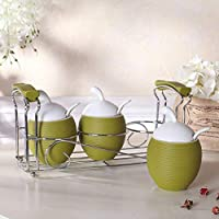 QingYun Trade セラミック香味料タンクのふた付き調味料ボトルヨーロッパ調味料タンクボトル(4アセンブリ) (Color : C)