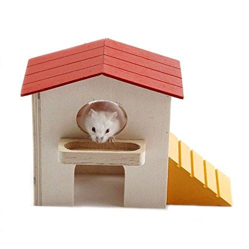 EMOURS ハムスター ハウス 2階 建て 赤い 屋根 の お家