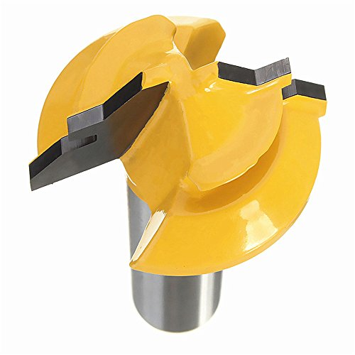 Migiwata 45° Lock Miter Glue Joint Router Bit 1/2 Shank with Tungsten Carbide Cutters and Solid Hardened Steel Body for Joining Drawer Boxes Cabinet Parts and Building 4-sided Columns in Woodworking