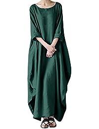 91ec6f26bb69a QIAONAI レディース ワンピース ロング丈 綿麻 マキシ丈 ドレス 体型オーバー スカート 大きいサイズ ゆったり