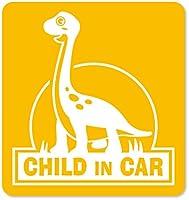 imoninn CHILD in car ステッカー 【マグネットタイプ】 No.70 ブラキオサウルスさん (黄色)