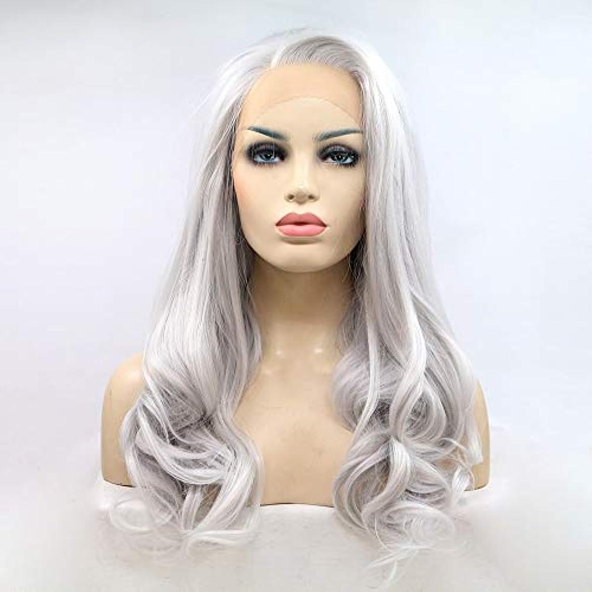 自治的調和溶けたヘアピース 銀色の白いかつらレディースハンドメイドレースヨーロッパとアメリカのかつら髪セット長い巻き毛