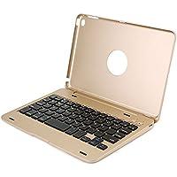 efluky iPad mini4 bluetooth キーボード ワイヤレス キーボードケース 薄型Bluetooth接続キーボード 自動スリープ機能付き ノートパソコンに変身 iPad mini4専用(ゴールド)