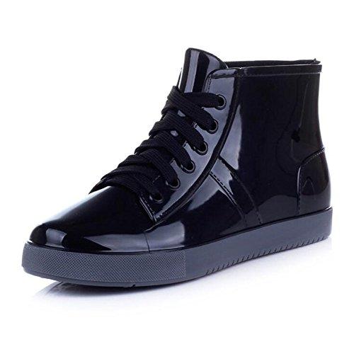 (Wansi) レディース レイン ブーツ ペアルック ショート レイン ブーツ シューズ レインブーツ 韓国 雨靴 長靴 長ぐつ 梅雨対策 滑り止め レインシューズ レイングッズ ビジネス アウトドア おしゃれ 雨靴 (26cm, ブラック)