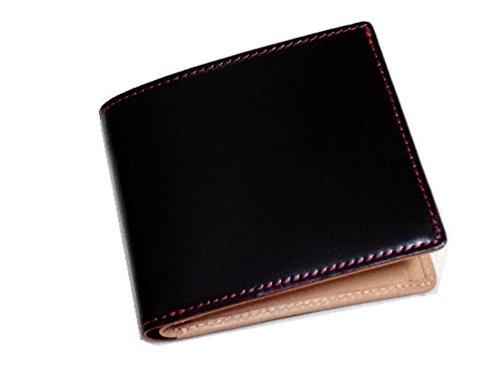 コードバン(馬尻革)×本ヌメ革サイフ(BOX型小銭入付二つ折財布) (ブラック×レッド)