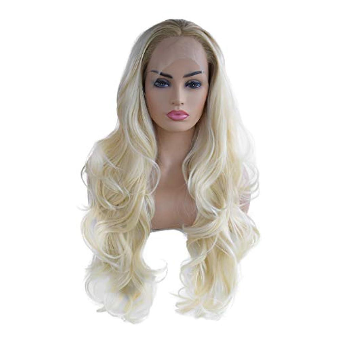 女性の長い長い巻き毛のかつらファッションコスプレかつらフロントレースかつら