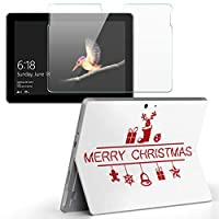 Surface go 専用スキンシール ガラスフィルム セット サーフェス go カバー ケース フィルム ステッカー アクセサリー 保護 クリスマス 英語 赤 009946