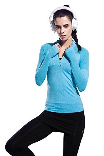 (オナーファション) Honour Fashion tシャツ レディース 長袖 スポーツ トレーニングウェア ストレッチ ハイネック ハーフジップ UVカット 吸汗速乾 スポーツシャツ F06/F08/H01