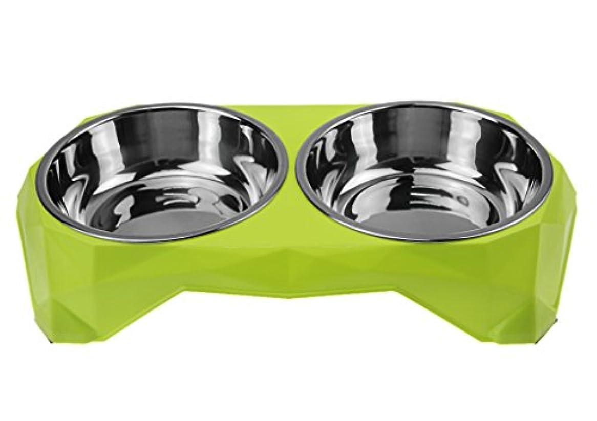 ペットボウル 食器 皿 犬猫用 餌入れ 給餌容器 給水容器 フードボウル ウォーターボウル ステンレス製 滑り止め こぼれ防止 小動物用食器 2つフードボウル 床に固定でき、静かに食事でき 便利 耐久性 可愛い 取り外し可能 片づけ簡単