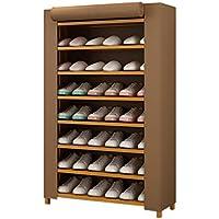 HWH オックスフォード布カバー靴ラック、ストレージルーム家庭用シンプルな竹靴ラック多機能防塵ストレージラック 靴箱 (色 : Brown, サイズ さいず : 80 * 26 * 125CM)