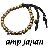 amp japan/アンプジャパン 6BTM-203BK ゴールド ナゲットビーズ レザーブレスレット(シルバースカル)