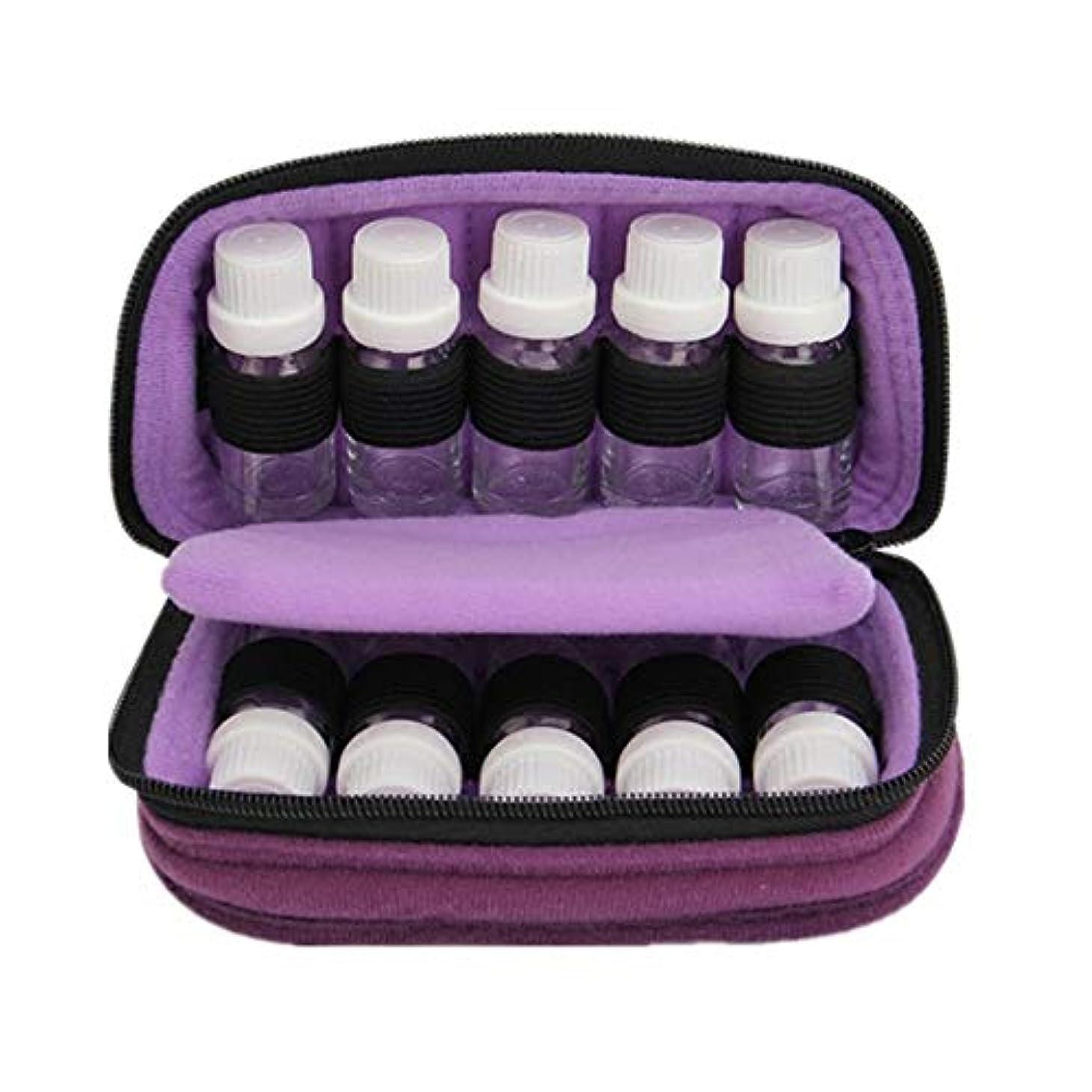 確率誰の頑固なエッセンシャルオイルボックス 15ミリリットルトラベルオーガナイザーバッグ用のストレージ10は、エッセンシャルオイルのスーツケースのバッグ完璧な10本のボトルを移動します アロマセラピー収納ボックス (色 : 紫の, サイズ : 18X10X7.5CM)