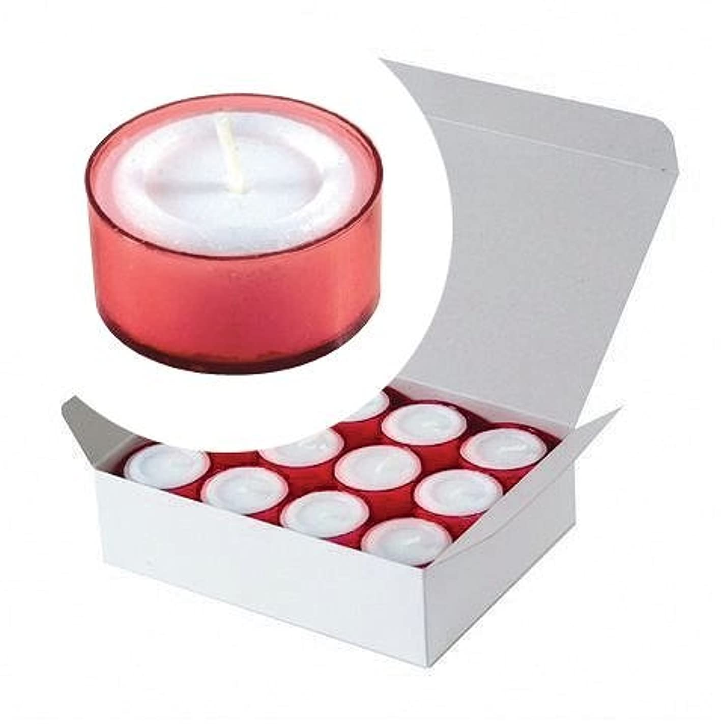 寮中庭すきカメヤマキャンドル(kameyama candle) カラークリアカップティーライト24個入り 「 レッド 」