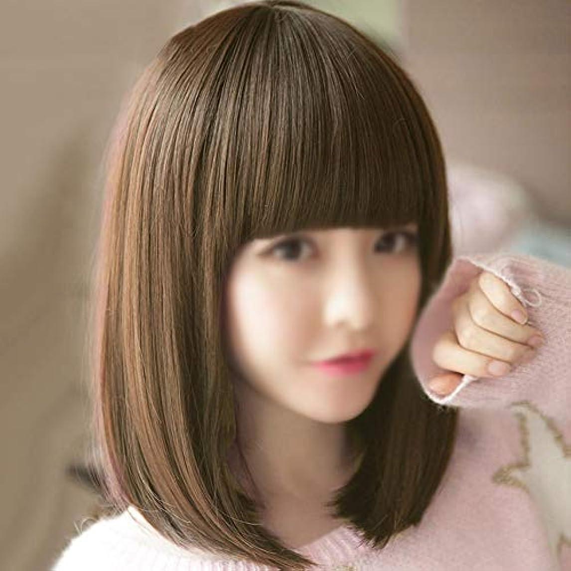 候補者レッスンくさびWASAIO ショートヘア前髪ウィッグウィメンズブラウンショートストレートヘアボブ (色 : 淡い茶色)