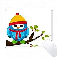 冬の漫画イラストのために身に着けている青いフクロウ PC Mouse Pad パソコン マウスパッド