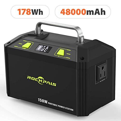 Rockpals ポータブル電源 大容量 K27 48000mAh/178Wh 小型発電機 家庭用蓄電池 三つの充電方法 ACコンセント DC出力 USBポート(150W 瞬間最大250W) キャンプ 防災グッズ 車中泊 地震 停電時に 非常用電源