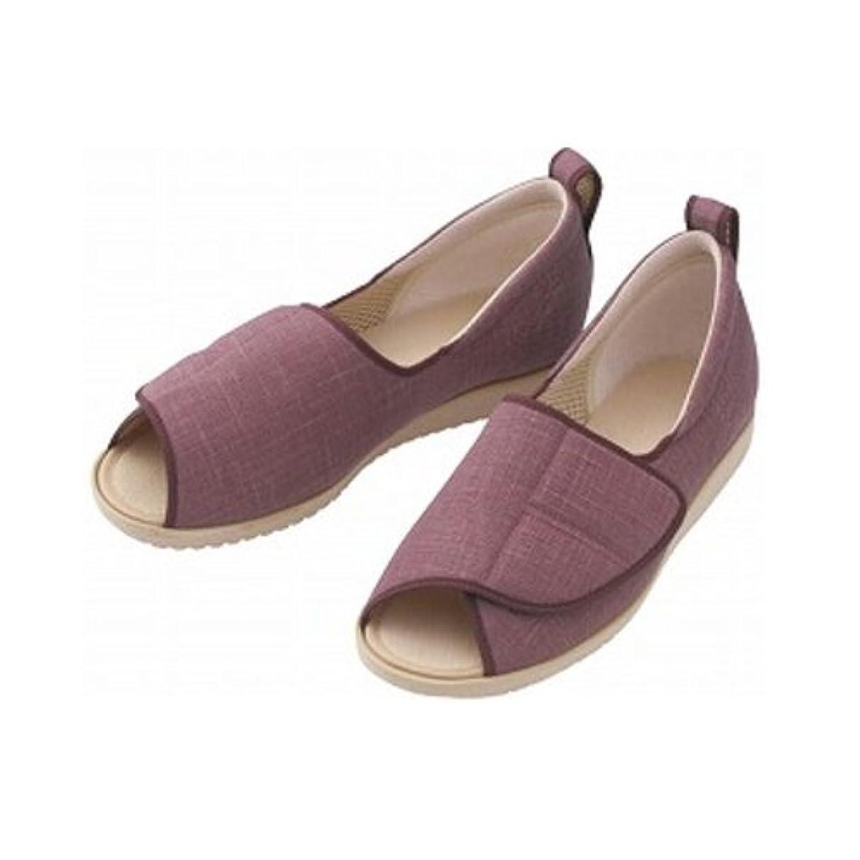 ハイキング船尾項目靴 介護用 オープン和(なごみ)1026 あゆみシリーズ LL 茶