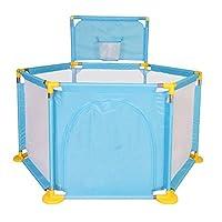 ベビーサークル 子供のセキュリティフェンスの幼児ポータブルプレイヤード6パネル撮影フェンスベイビープレイペン(66センチメートル、多色) (色 : 青)
