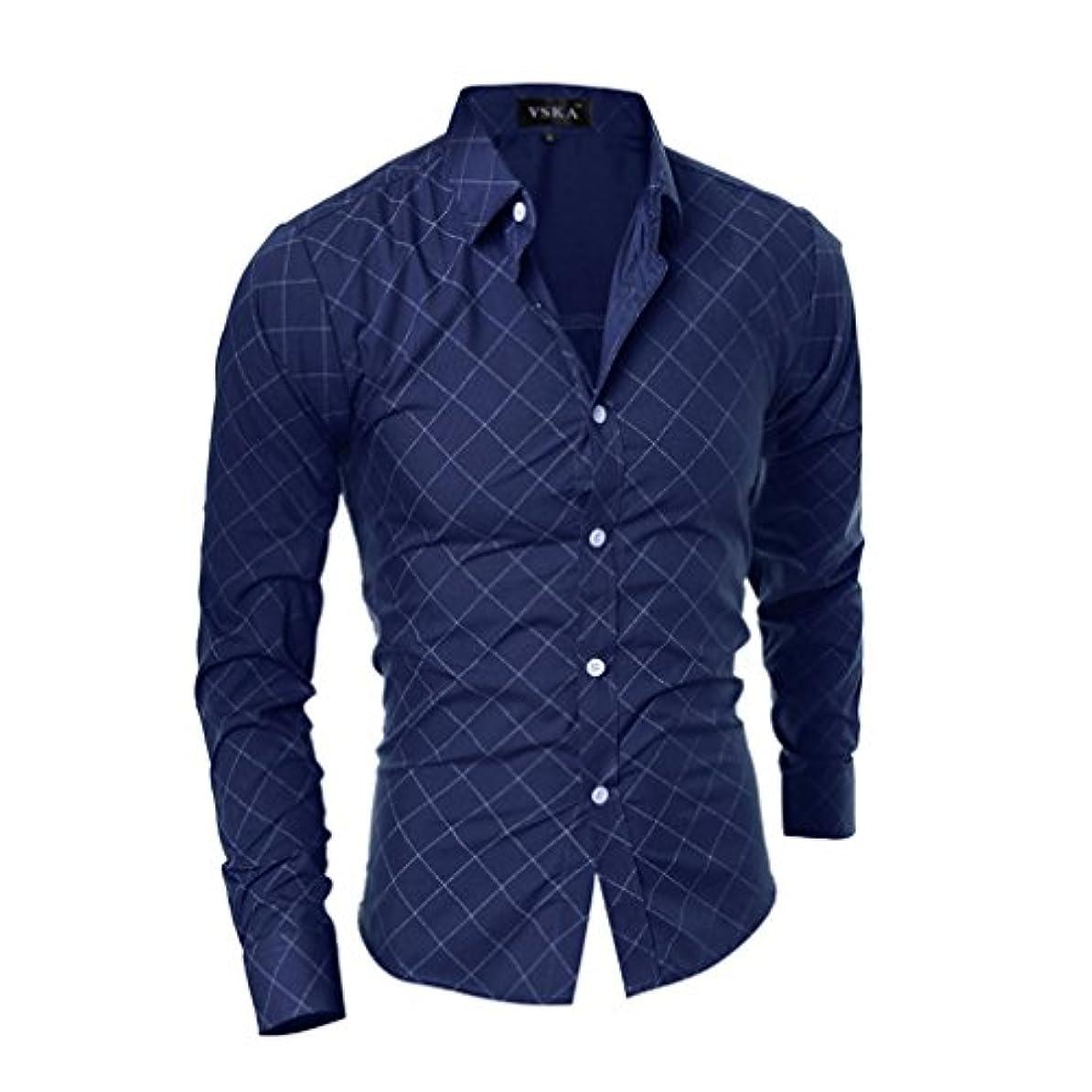 共同選択手伝う路面電車Honghu メンズ シャツ 長袖 チェック柄 カジュアル スリム  ブルー M 1PC